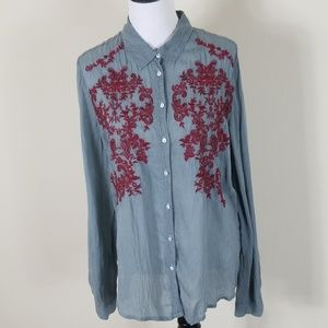 Johnny Was Embroidered Button Down Shirt